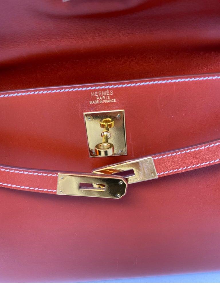 Hermes Rouge Kelly 35 Tadelakt Griss Interior Bag For Sale 12