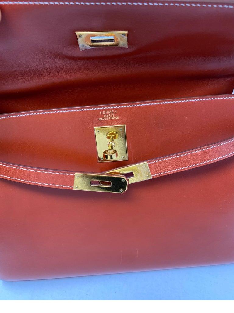 Hermes Rouge Kelly 35 Tadelakt Griss Interior Bag For Sale 13