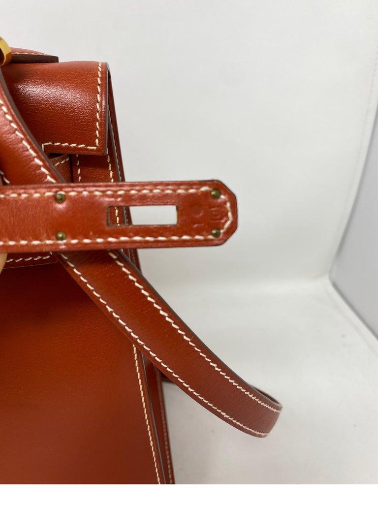 Hermes Rouge Kelly 35 Tadelakt Griss Interior Bag For Sale 14
