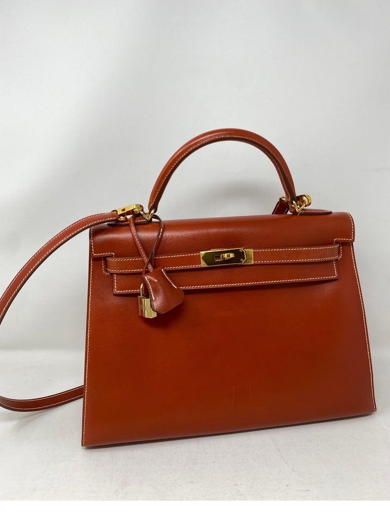 Brown Hermes Rouge Kelly 35 Tadelakt Griss Interior Bag For Sale