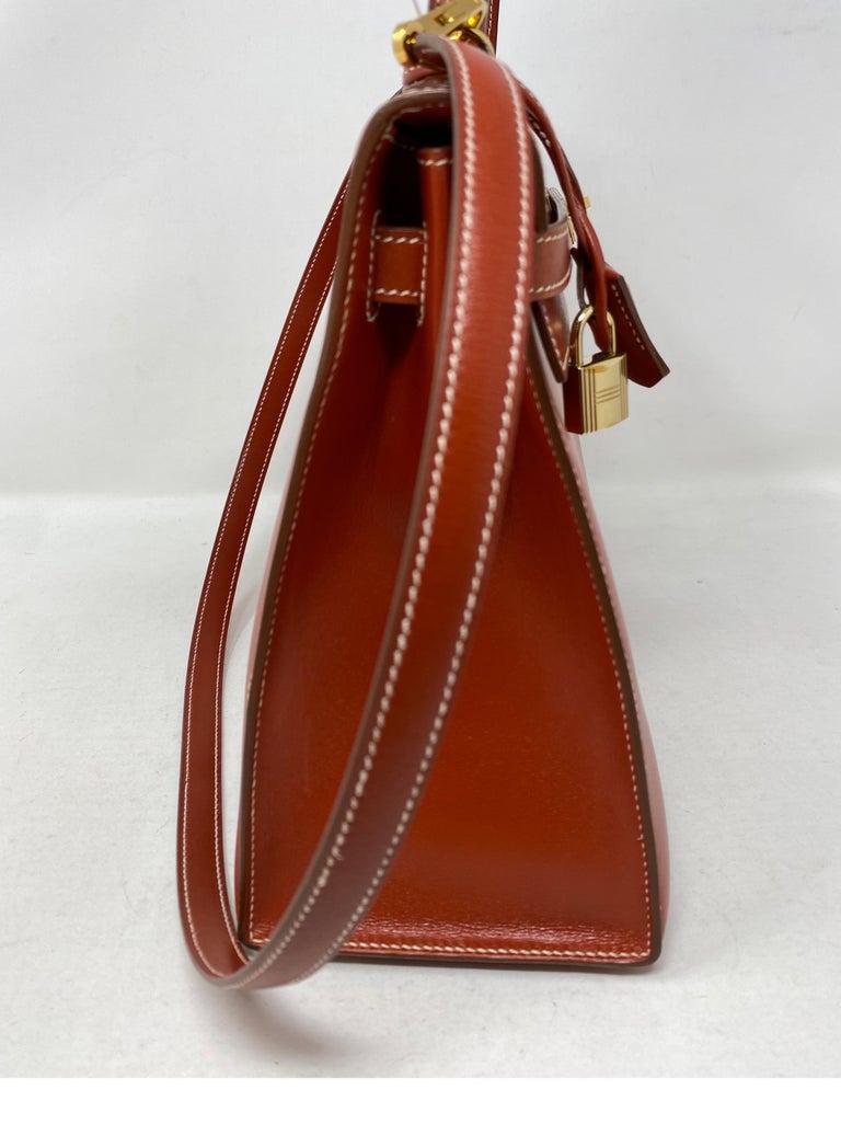 Women's or Men's Hermes Rouge Kelly 35 Tadelakt Griss Interior Bag For Sale