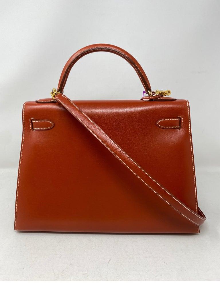 Hermes Rouge Kelly 35 Tadelakt Griss Interior Bag For Sale 1