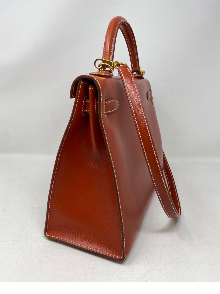 Hermes Rouge Kelly 35 Tadelakt Griss Interior Bag For Sale 2