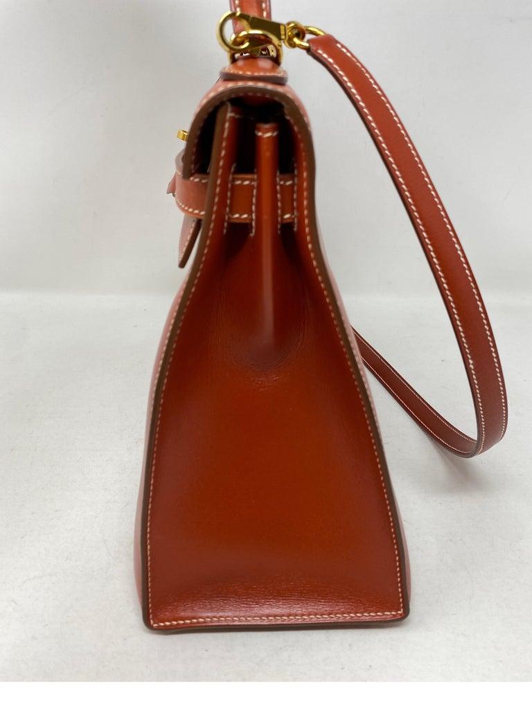 Hermes Rouge Kelly 35 Tadelakt Griss Interior Bag For Sale 3