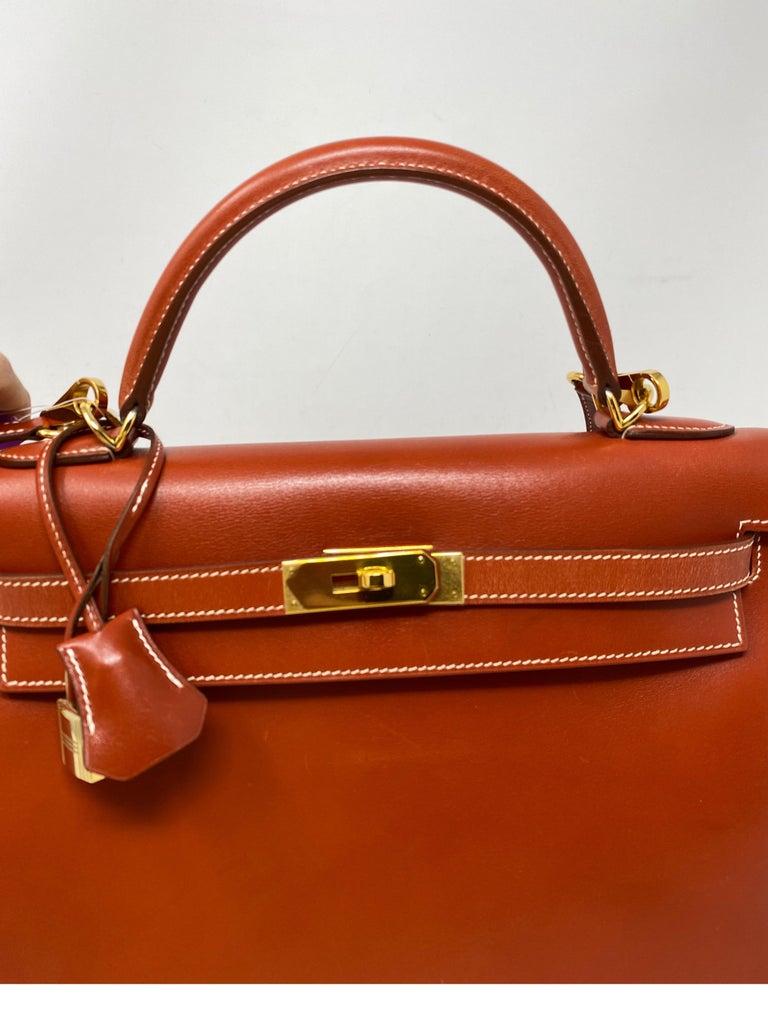 Hermes Rouge Kelly 35 Tadelakt Griss Interior Bag For Sale 4