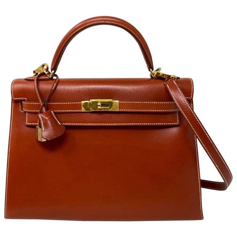 Hermes Rouge Kelly 35 Tadelakt Griss Interior Bag For Sale