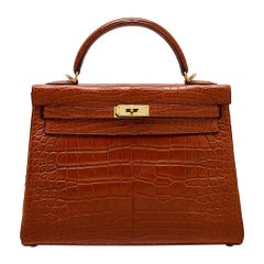 Hermes Rouge Matte Alligator 32cm Kelly bag