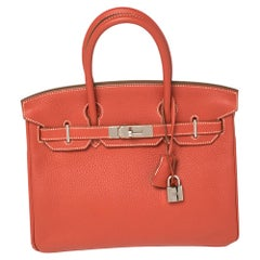 Hermes Rouge Pivoine Craie Clemence Leather Palladium Finished Birkin 30 Bag