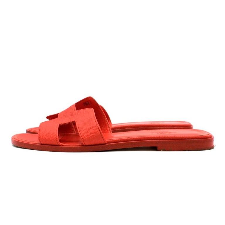 Women's Hermes Rouge Pivoine Epsom Leather Oran Sandals 37 For Sale