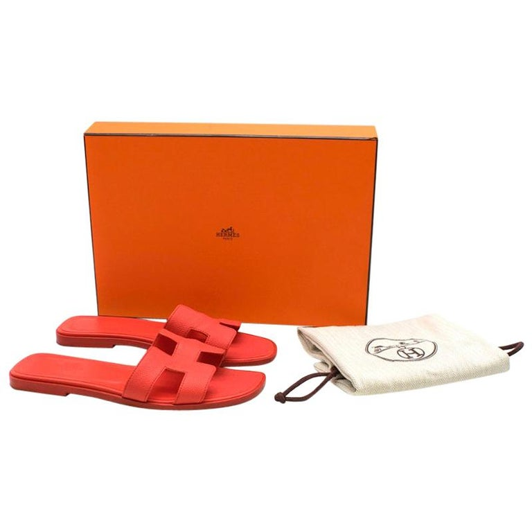Hermes Rouge Pivoine Epsom Leather Oran Sandals 37 For Sale