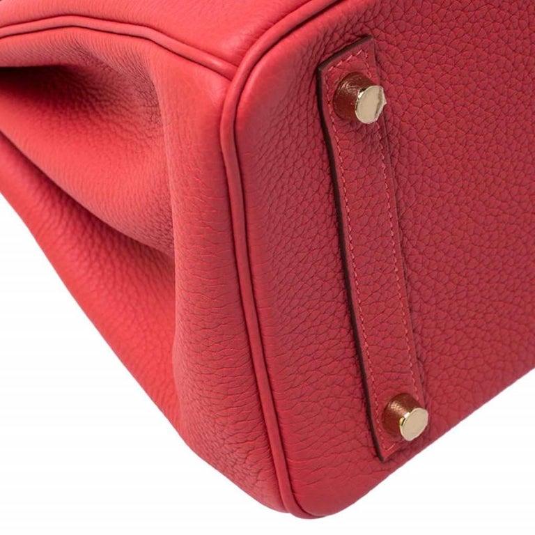 Hermes Rouge Pivoine Togo Leather Gold Hardware Birkin 30 Bag 5