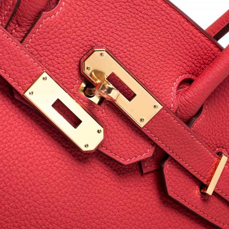 Hermes Rouge Pivoine Togo Leather Gold Hardware Birkin 30 Bag 7