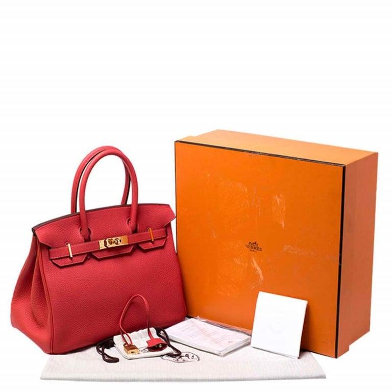 Hermes Rouge Pivoine Togo Leather Gold Hardware Birkin 30 Bag 8