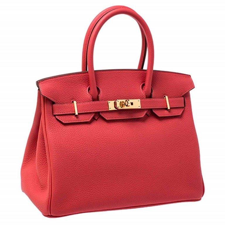 Hermes Rouge Pivoine Togo Leather Gold Hardware Birkin 30 Bag In New Condition In Dubai, Al Qouz 2