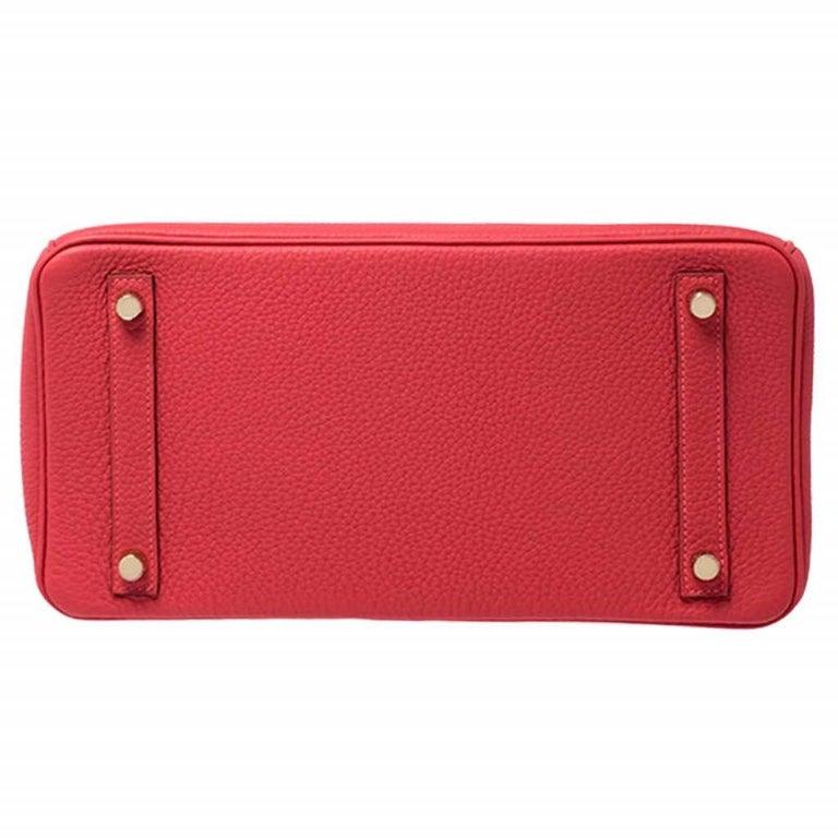Women's Hermes Rouge Pivoine Togo Leather Gold Hardware Birkin 30 Bag