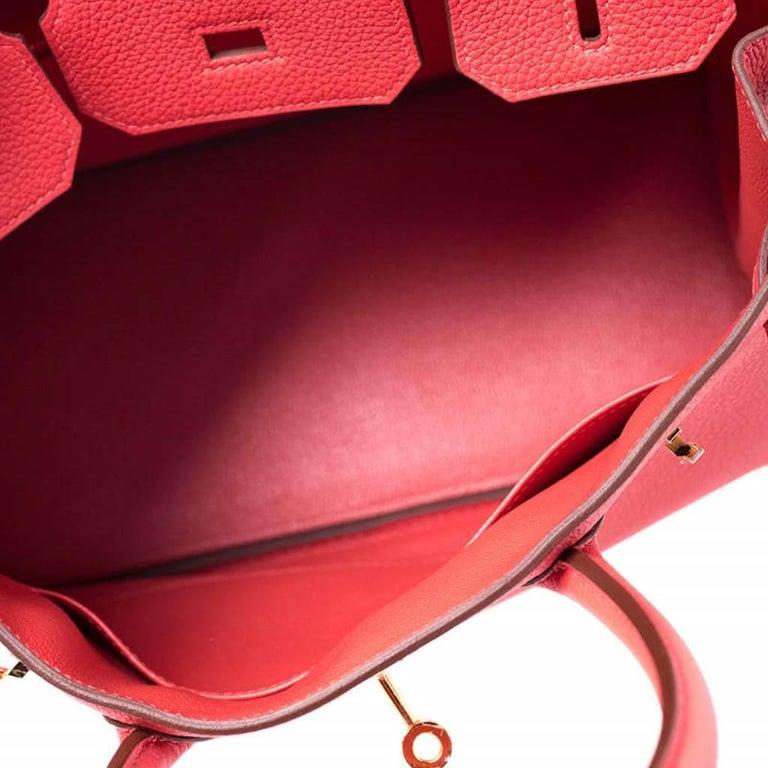 Hermes Rouge Pivoine Togo Leather Gold Hardware Birkin 30 Bag 2
