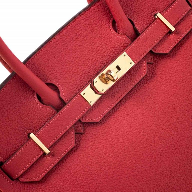 Hermes Rouge Pivoine Togo Leather Gold Hardware Birkin 30 Bag 3