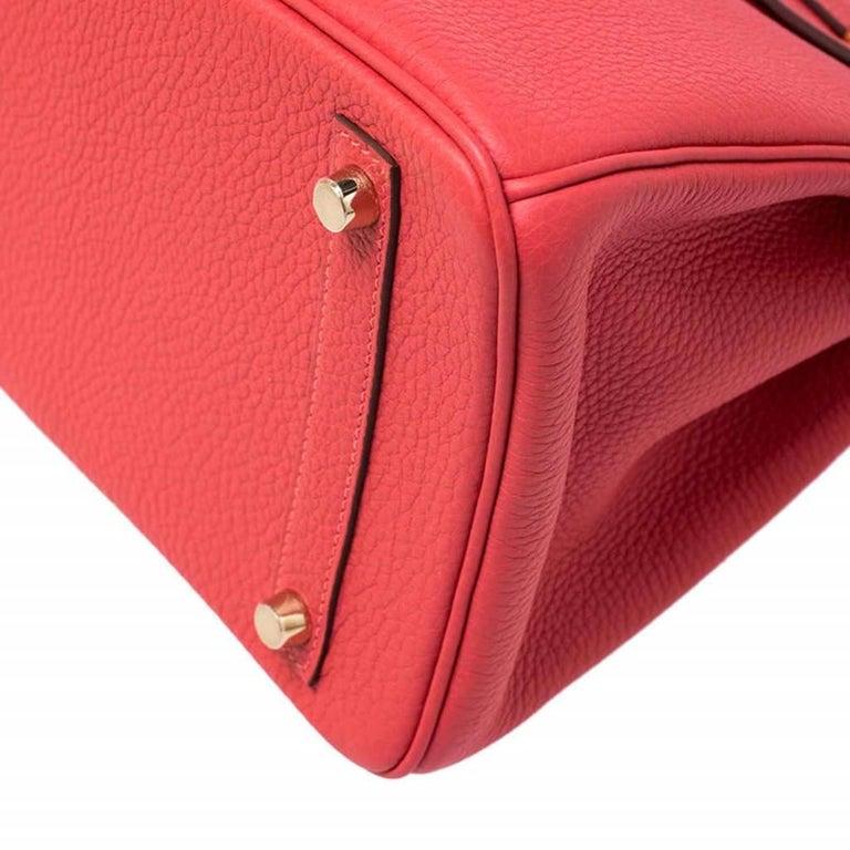 Hermes Rouge Pivoine Togo Leather Gold Hardware Birkin 30 Bag 4