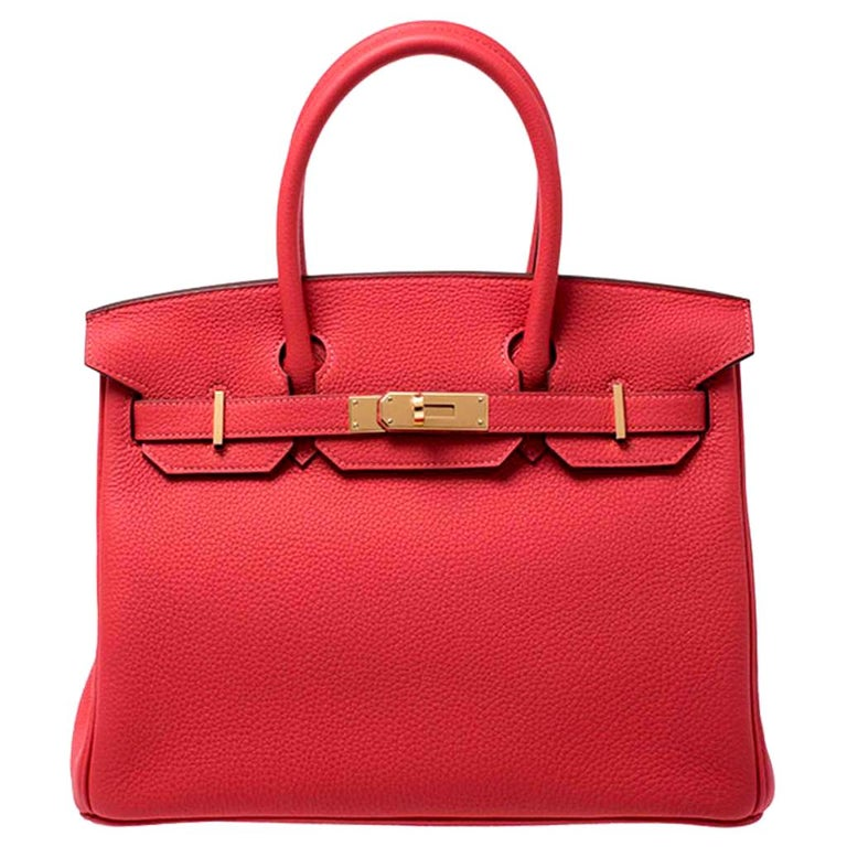 Hermes Rouge Pivoine Togo Leather Gold Hardware Birkin 30 Bag