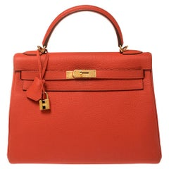 Hermes Rouge Pivoine Togo Leather Gold Hardware Kelly Retourne 32 Bag