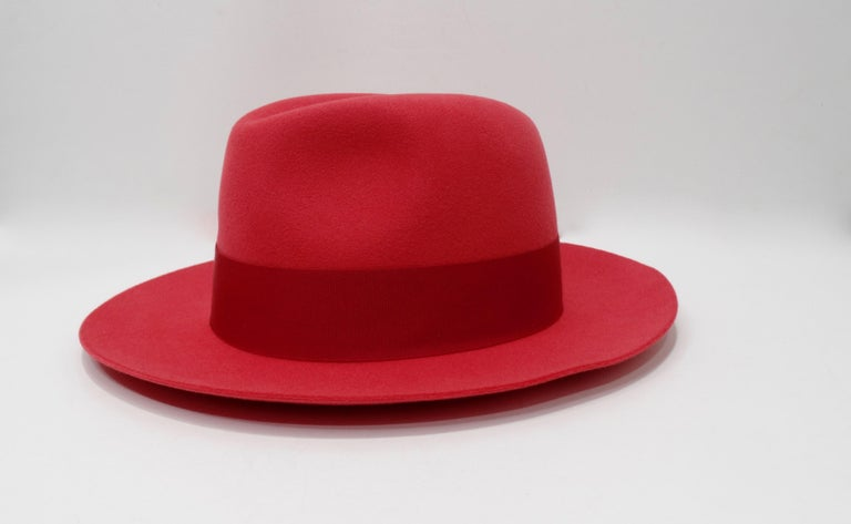 Red Hermés Fedora Hat  For Sale