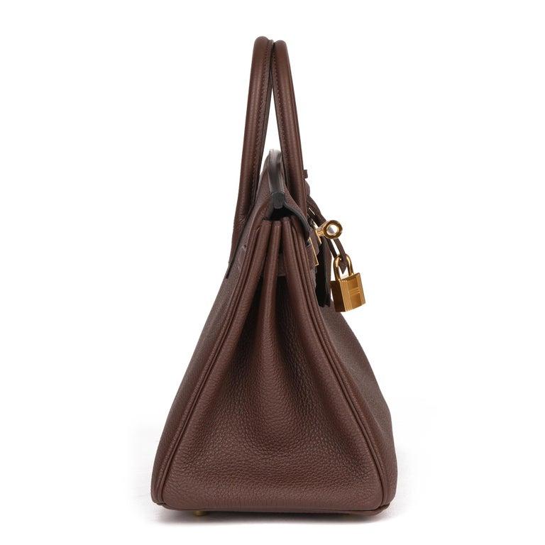 Black Hermès Rouge Sellier Togo Leather Birkin 25cm For Sale