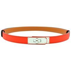 Hermes Rouge Tomate Epsom Leather Kelly Belt PHW