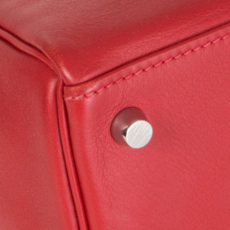 HERMES Rouge Tomate red Swift leather KELLY 28 RETOURNE Bag Palladium For Sale 5