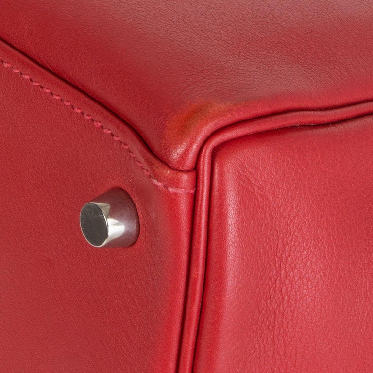 HERMES Rouge Tomate red Swift leather KELLY 28 RETOURNE Bag Palladium For Sale 6