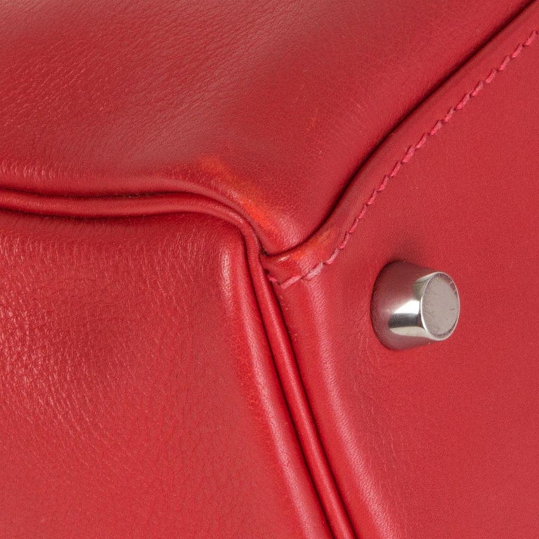 HERMES Rouge Tomate red Swift leather KELLY 28 RETOURNE Bag Palladium For Sale 7