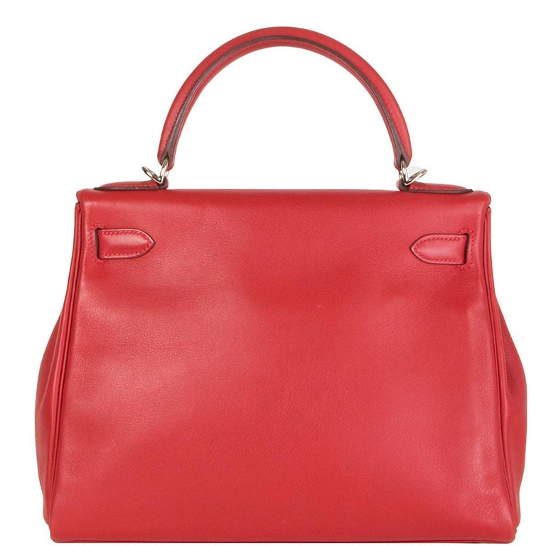 Red HERMES Rouge Tomate red Swift leather KELLY 28 RETOURNE Bag Palladium For Sale