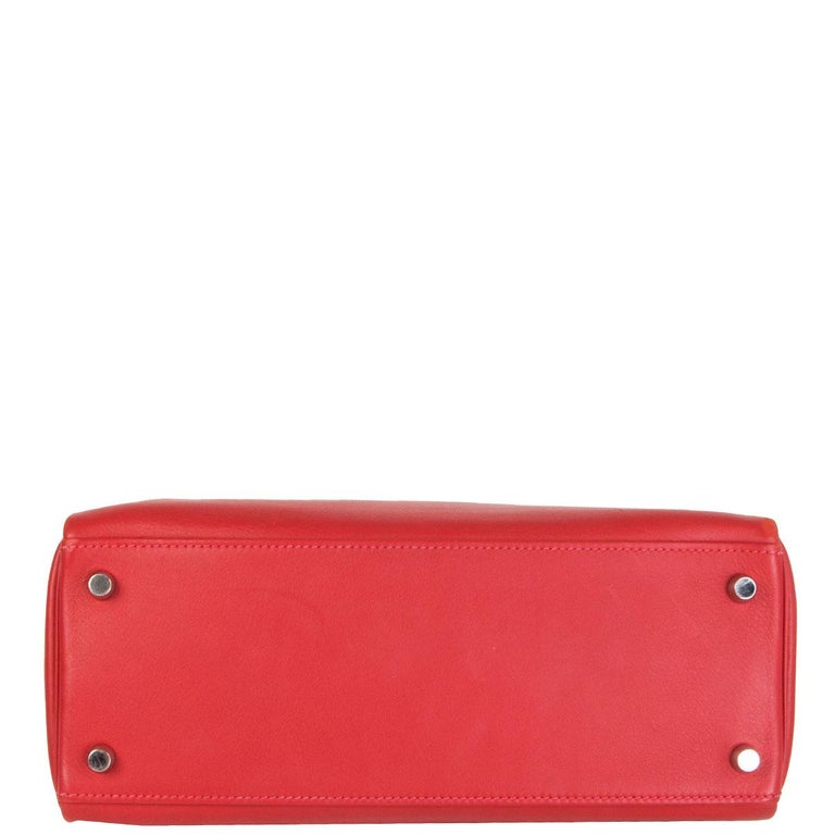 HERMES Rouge Tomate red Swift leather KELLY 28 RETOURNE Bag Palladium In Excellent Condition For Sale In Zürich, CH