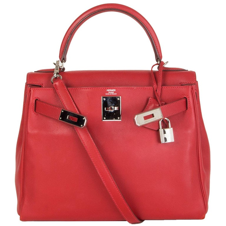 Women's HERMES Rouge Tomate red Swift leather KELLY 28 RETOURNE Bag Palladium For Sale