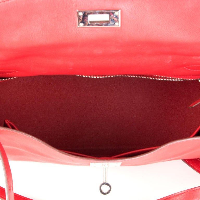 HERMES Rouge Tomate red Swift leather KELLY 28 RETOURNE Bag Palladium For Sale 1