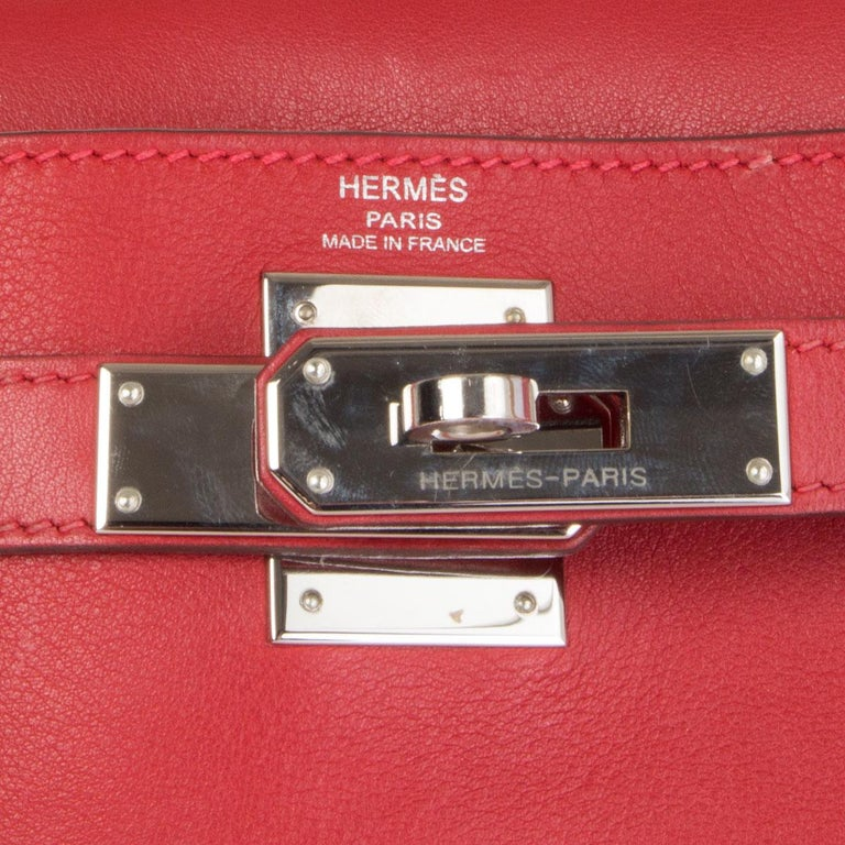 HERMES Rouge Tomate red Swift leather KELLY 28 RETOURNE Bag Palladium For Sale 2