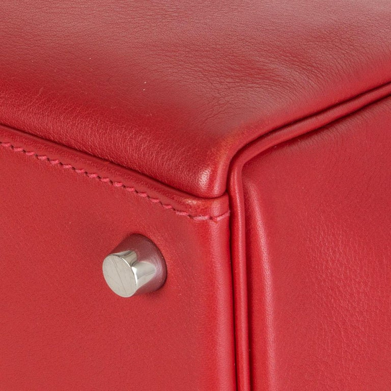 HERMES Rouge Tomate red Swift leather KELLY 28 RETOURNE Bag Palladium For Sale 4