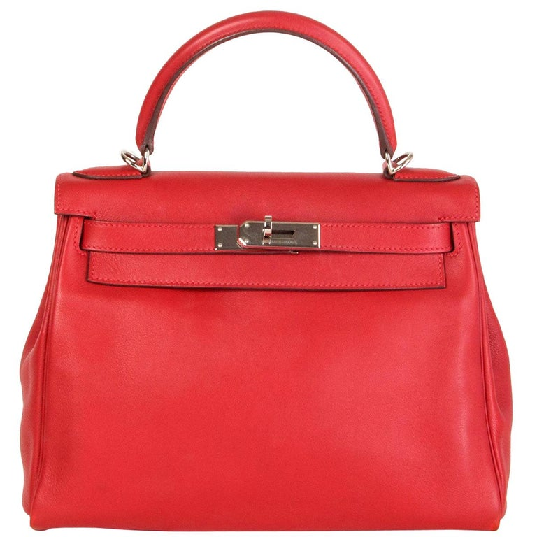HERMES Rouge Tomate red Swift leather KELLY 28 RETOURNE Bag Palladium For Sale