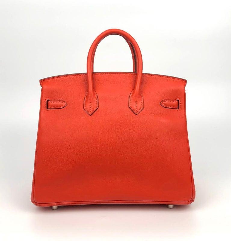 Red Hermès Rouge Tomate Swift Leather 25 cm Birkin Bag For Sale