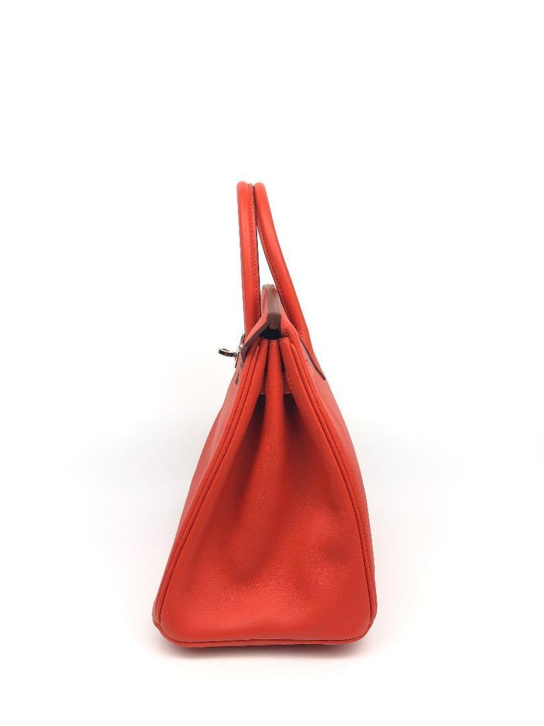 Hermès Rouge Tomate Swift Leather 25 cm Birkin Bag In New Condition For Sale In Palm Beach, FL