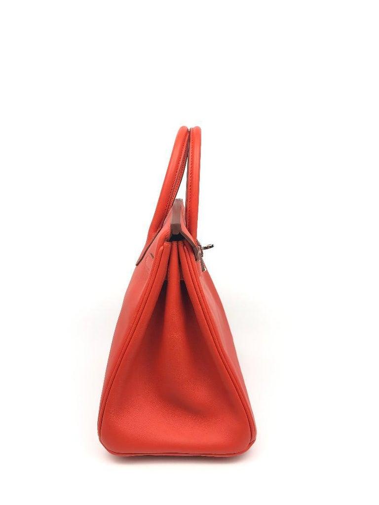 Women's Hermès Rouge Tomate Swift Leather 25 cm Birkin Bag For Sale