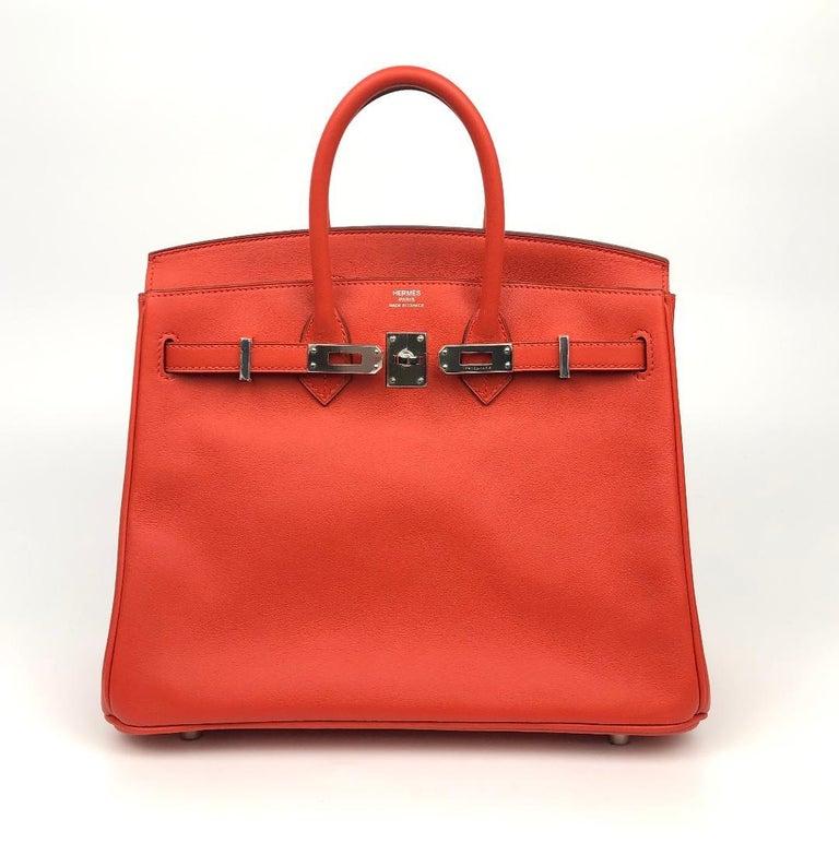 Hermès Rouge Tomate Swift Leather 25 cm Birkin Bag For Sale 1