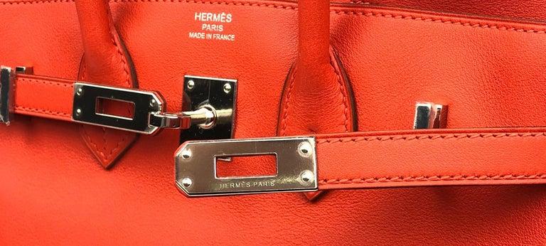 Hermès Rouge Tomate Swift Leather 25 cm Birkin Bag For Sale 2