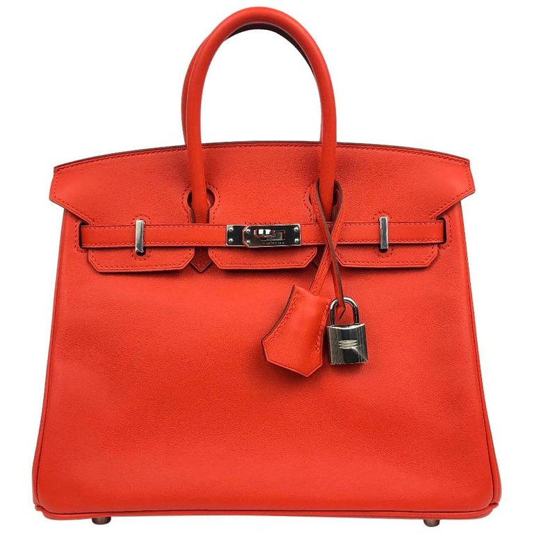 Hermès Rouge Tomate Swift Leather 25 cm Birkin Bag For Sale