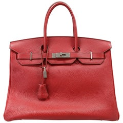 Hermès Rouge VIF Clemence 35 cm Birkin Bag
