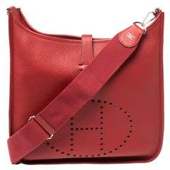 Hermes Rouge Vif Clemence Leather Evelyne III GM Bag