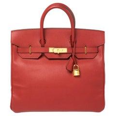 Hermes Rouge Vif Epsom Leather Gold Hardware HAC Birkin 32 Bag