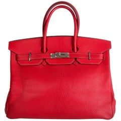 HERMES Rouge Vif red Chevre Coromandel BIRKIN 35 Tote Bag