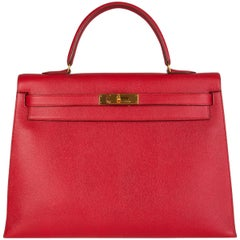 HERMES Rouge Vif red leather KELLY 35 SELLIER Bag