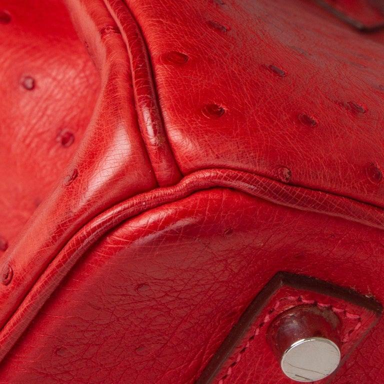HERMES Rouge Vif red OSTRICH leather & Palladium BIRKIN 35 Bag For Sale 6