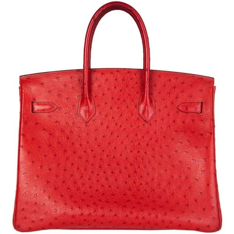 Red HERMES Rouge Vif red OSTRICH leather & Palladium BIRKIN 35 Bag For Sale